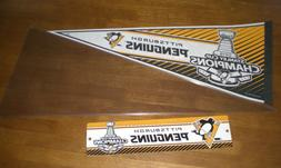 2016 PITTSBURGH PENGUINS STANLEY CUP CHAMPIONS PENNANT & STR