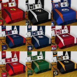 NHL Hockey Bedroom Set - Sports Logo Bed Comforter Sheets Dr
