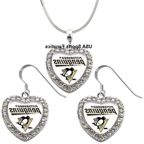 pittsburgh penguins 925 necklace earrings or set