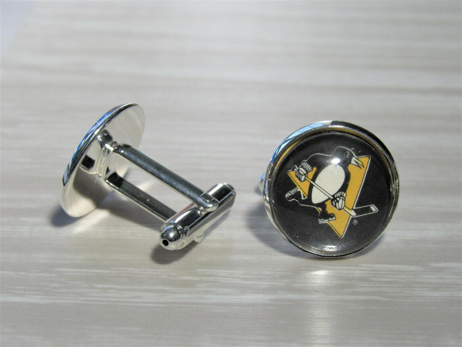 Pittsburgh Penguins Cufflinks made from Recycled Hockey Gift for Men