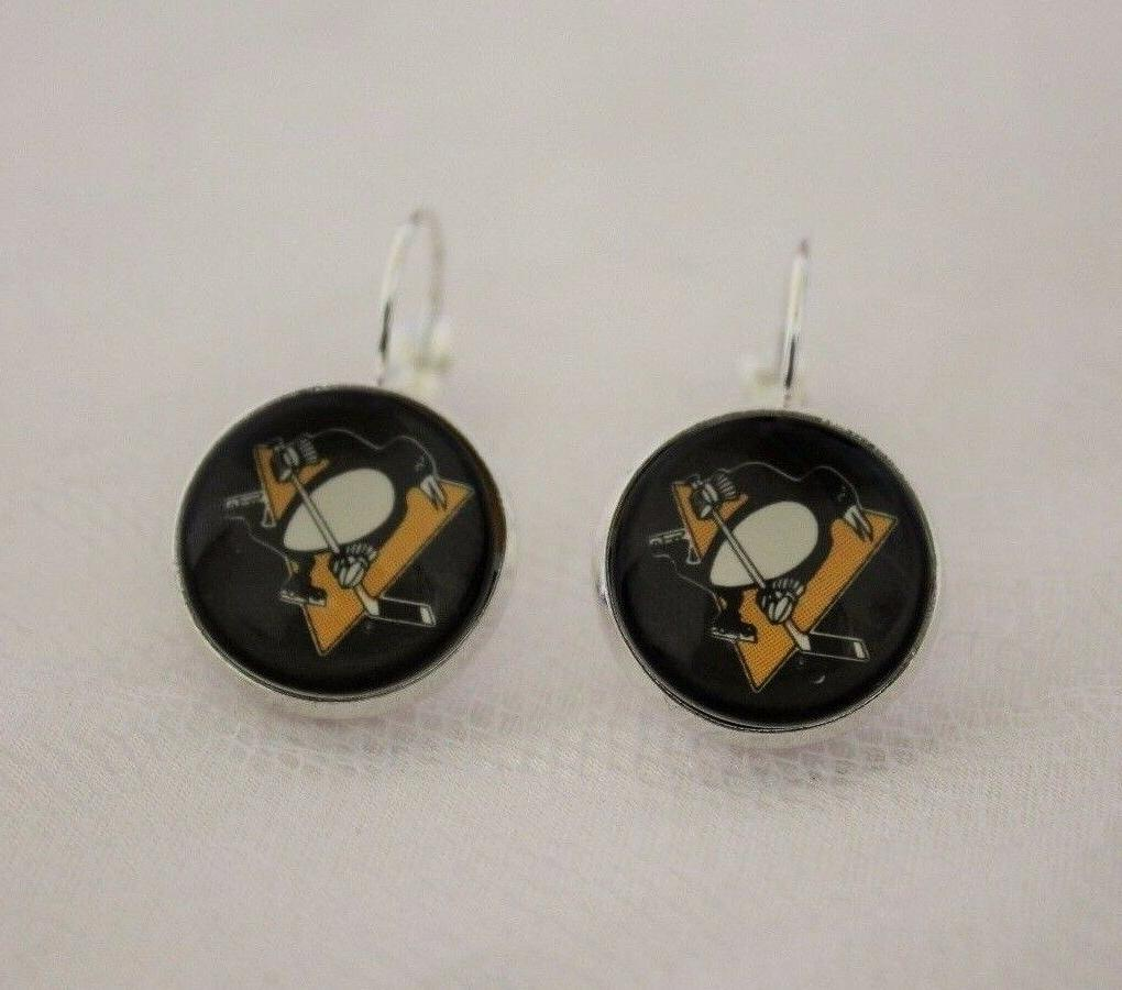 pittsburgh penguins earrings made from hockey trading