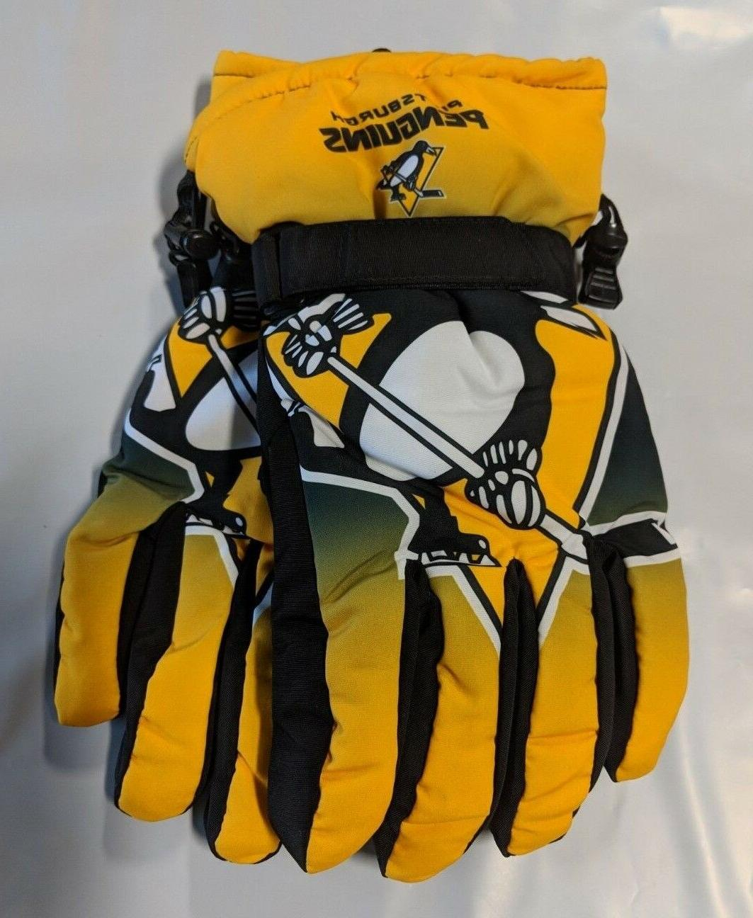 pittsburgh penguins gloves big logo gradient insulated