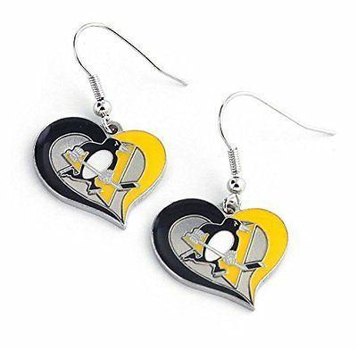 pittsburgh penguins swirl heart earring new colors