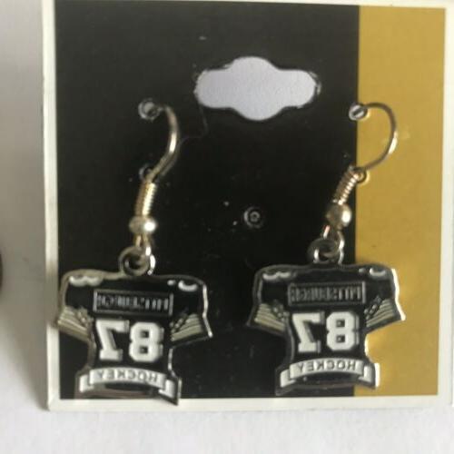 sidney crosby 87 black jersey charm earrings