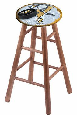 Maple Vanity Stool in Medium Finish with Pittsburgh Penguins