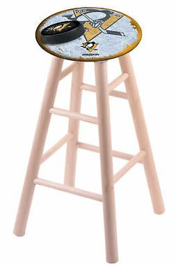 Maple Vanity Stool in Natural Finish with Pittsburgh Penguin