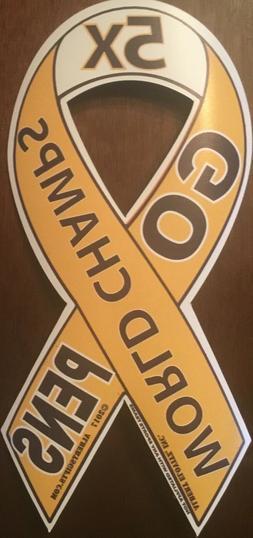 New! Pittsburgh Penguins 5X World Champs GO PENS Ribbon Car