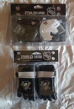 NHL Hockey Pittsburgh Penguins PENS Mini Gloves & Mini Helme
