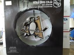 "NHL PITTSBURGH  PENGUIN GLASS BIRD BATH 11.25"" IN DIAMETER N"