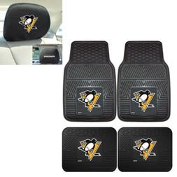 Pittsburgh Penguins 4 Piece Heavy Duty Car Mats and 2 Head R