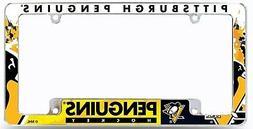 Pittsburgh Penguins All Over Chrome Frame Metal License Plat