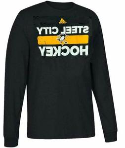 Pittsburgh Penguins Black Heavily Used Adidas Long Sleeve T