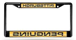 Pittsburgh Penguins BLACK Laser Frame Chrome Metal License P