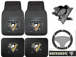 Pittsburgh Penguins Car Truck Floor Mats Steering Wheel Cove