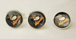 Pittsburgh Penguins Cufflink and Tie Tack Set Upcycled from