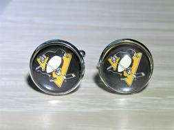 Pittsburgh Penguins Cufflinks made from Recycled Hockey Card