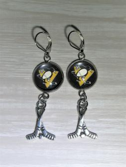 pittsburgh penguins earrings with hockey charm made