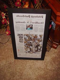 PITTSBURGH PENGUINS FRAMED NEWSPAPER 2016 STANLEY CUP CHAMPI