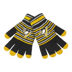 pittsburgh penguins gloves acrylic stripe knit sports