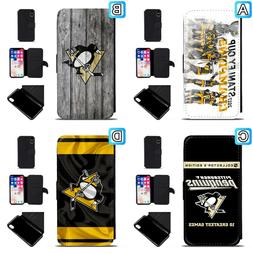 Pittsburgh Penguins Leather Flip Case For iPhone X Xs Max Xr