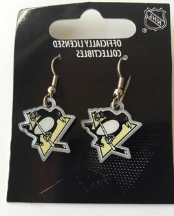 Pittsburgh Penguins Logo Charm Dangle Earrings NHL Licensed