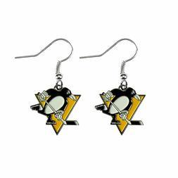 pittsburgh penguins nhl dangle earrings 3d logo