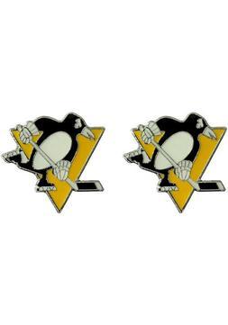 Pittsburgh Penguins NHL Silver Post Stud Earrings Charm Logo