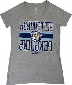 Pittsburgh Penguins CCM NHL Women's Vintage Gray Heathered V