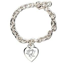 "Pittsburgh Penguins Official NHL 7"" Heart Charm Bracelet"