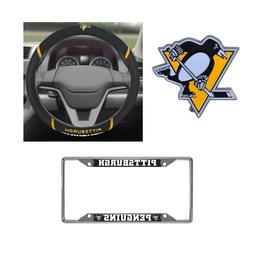 Pittsburgh Penguins Steering Wheel Cover, License Plate Fram