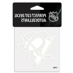 "PITTSBURGH PENGUINS WHITE VINYL DIE-CUT DECAL 4""X4"" PERFECT"