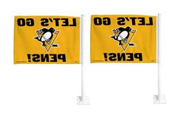 Set of 2 NHL Pittsburgh Penguins Car Flags - 0P_43