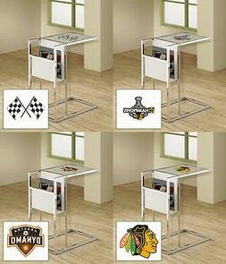 TV Tray Sports Team Logos Slide Under Couch Frosted Glass an